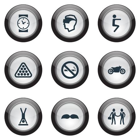 簡単なヨガのアイコンのベクトル イラスト セット。サイバー スペースの要素、契約、オートバイおよび他の同義語ポーズ、バイクやスクーター。  イラスト・ベクター素材