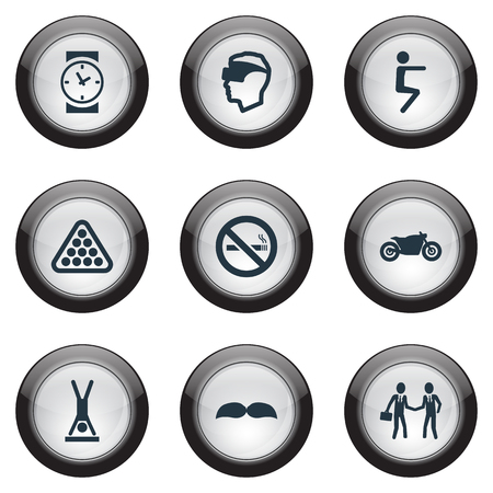 device: Vector Illustration Set Of Simple Yoga Icons. Elements Cyberspace, Deal, Motorcycle And Other Synonyms Pose, Motorbike And Scooter. Illustration