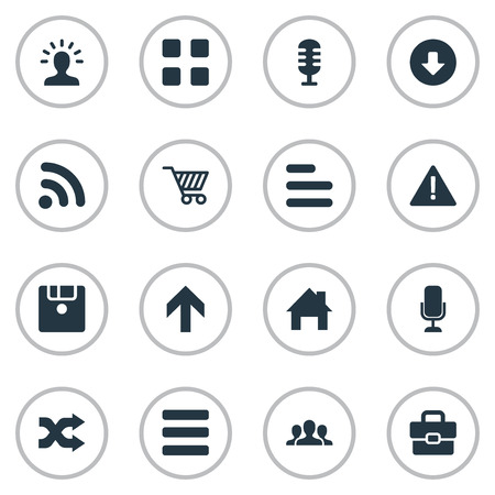 multimedia icons: Elements Wireless Connection, Menu, Randomize Synonyms Diskette, Options And Disk.  Vector Illustration Set Of Simple Interface Icons.