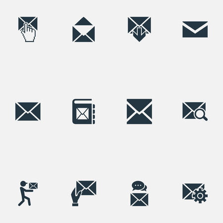 Vector Illustration Set Of Simple Mail Icons. Elements Look For, Receiver, Inbox And Other Synonyms Envelope, Notepad And Communication.