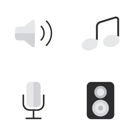 Vectorillustratiereeks Eenvoudige Melodiepictogrammen. Elements Music Sign, Record, Loudness And Other Synoniemen Luidspreker, Microfoon en controle.