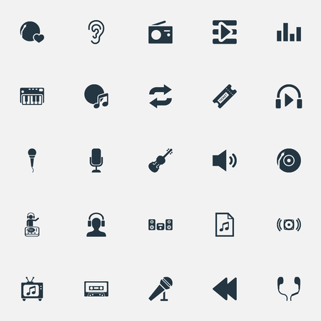 Vector Illustration Set Of Simple Melody Icons. Elements Megaphone, Begin Button, Tape And Other Synonyms Radio, Shellac And Piano. Illustration