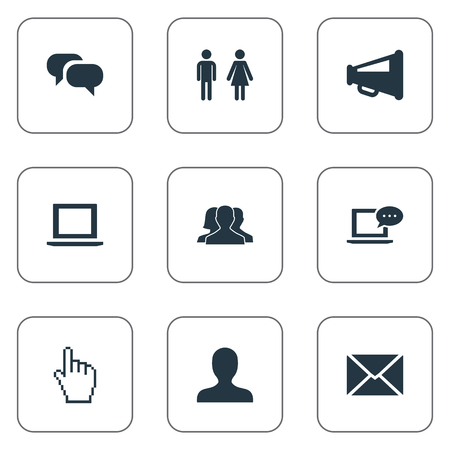 Vector Illustration Set Of Simple Internet Icons. Elements Profile, Notebook, Letter And Other Synonyms Computer, Letter And Species. Illustration
