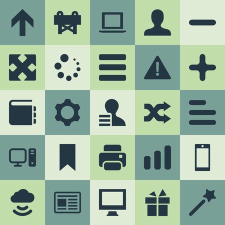 Vector illustratie Set van eenvoudige ontwerp pictogrammen. Elementen Vlag, Willekeurig maken, Synoniemen Opslag, Min en Aandacht Toevoegen. Stockfoto