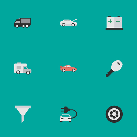 round: Vector Illustration Set Of Simple Transportation Icons. Elements Automobile, Accumulator, Strainer And Other Synonyms Charge, Auto And Van.