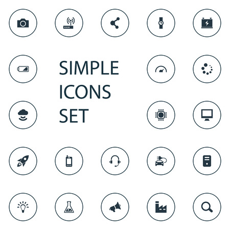 Vector Illustration Set Of Simple Hitech Icons. Elements Hand Clock, Processor , Flask Synonyms Monitor, Phone And Signal. Stock Photo