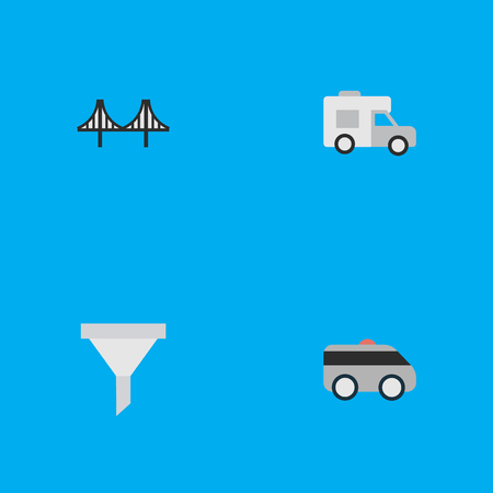 Vector Illustration Set Of Simple Shipping Icons. Elements Bridgework, Van, Armored And Other Synonyms Strainer, Percolator And Artillery.