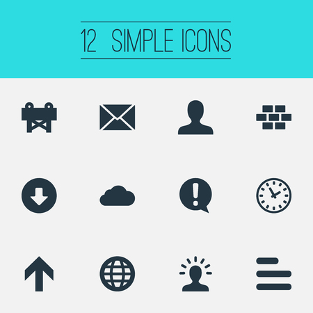 Vector Illustration Set Of Simple Design Icons. Elements Creativity, Important, Upload And Other Synonyms Upload, Creativie And Up.