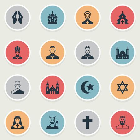 Illustrazione vettoriale Set di icone di religione semplice. Elementi Crocifisso, Diavolo, Stella di David e altri sinonimi Santi, parrocchiani e buddisti. Archivio Fotografico - 87338937