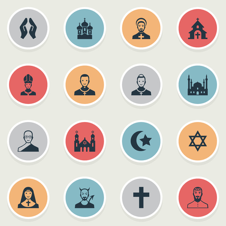 Vector Illustration Set Of Simple Religion Icons. Elements Crucifix, Devil, David Star And Other Synonyms Holy, Parish And Buddhist. Stock fotó - 87338937