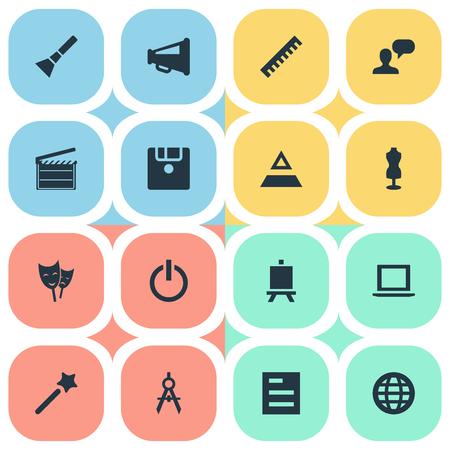 Vectorillustratiereeks Eenvoudige Iconen van Designicons. Elements Laptop, Hierarchy, Ruler And Other Synoniemen Worldwide, Document And Movie. Stock Illustratie