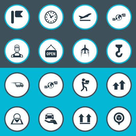 Vector Illustration Set Of Simple Engineering Icons. Elements Courier, Direction Arrows, Interval And Other Synonyms Point, Shipping And Top.