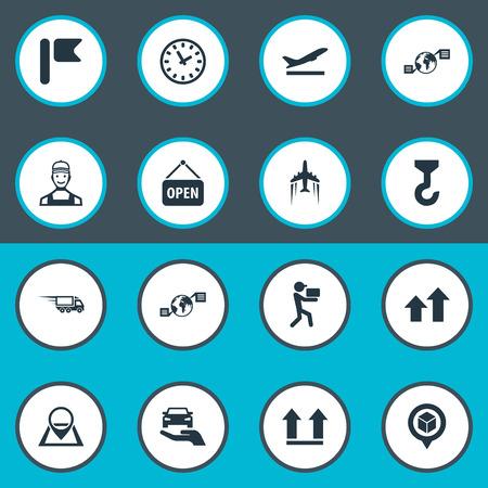 Vectorillustratiereeks Eenvoudige Techniekpictogrammen. Elementen koerier, richtingspijlen, interval en ander synoniemenpunt, verzending en bovenkant. Stock Illustratie