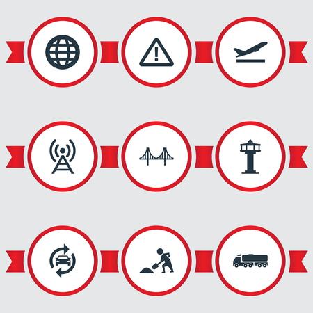 Vector illustratie Set van eenvoudige openbare iconen. Elementen Reconstructie, Radiotoren, Luchthaven en Andere synoniemenwerken, Vertrek en Waarschuwen. Stock Illustratie