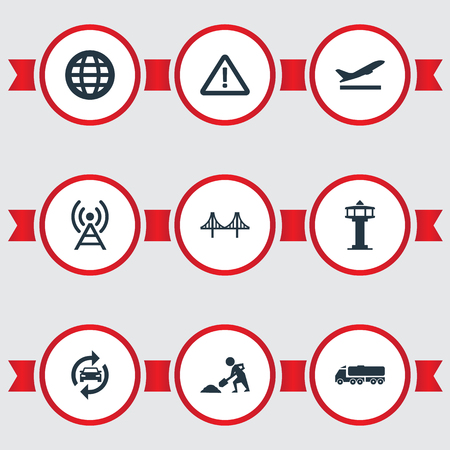 Vector Illustration Set Of Simple Public Icons. Elements Reconstruction, Radio Tower, Airport And Other Synonyms Works, Departure And Warn.