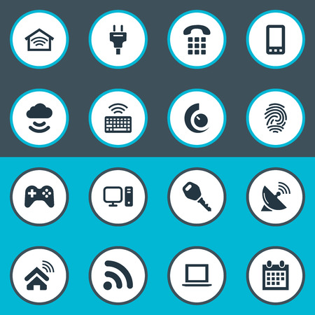 Vector Illustration Set Of Simple Internet Icons. Elements Network, Protection, Wireless Connection And Other Synonyms Controller, Network And Keyboard.
