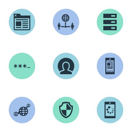 벡터 일러스트 레이 션 간단한 브라우저 아이콘의 집합입니다. 요소 태그, 회원, 데이터 센터 및 기타 동의어 방위, 데이터 및 방패.
