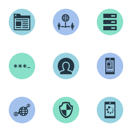 Vector Illustration Set Of Simple Browser Icons. Elements Tag, Member, Datacenter And Other Synonyms Defense, Data And Shield.