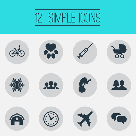 round: Vector Illustration Set Of Simple House Icons. Elements Footprint, Message, Partnership And Other Synonyms Transport, Perambulator And Travel.