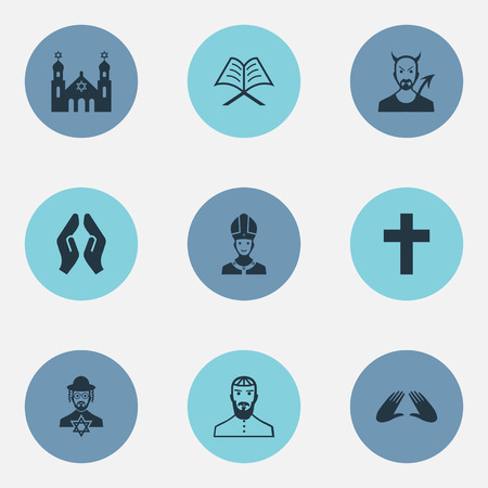 Vector Illustration Set Of Simple Faith Icons. Elements Pontiff, Devil, Temple And Other Synonyms Pater, Praying And God.