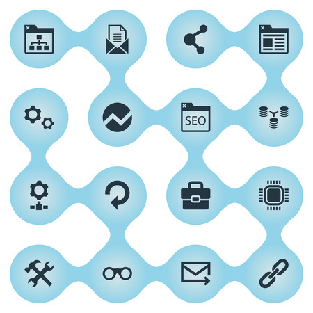 Vector Illustration Set Of Simple SEO Icons. Elements Letter, Tab, Database Distribution And Other Synonyms Bookmark, Optimization And SEO.