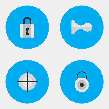 round: Vector Illustration Set Of Simple Offense Icons. Elements Closed, Lock, Hunting And Other Synonyms Deer, Sniper And Close.