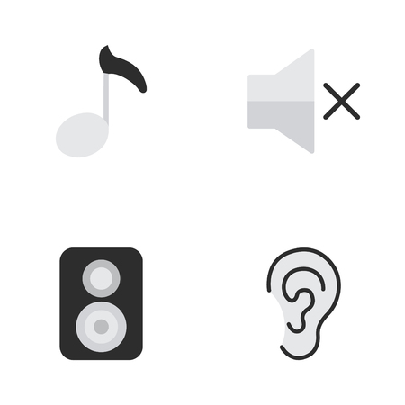 Vector Illustration Set Of Simple Sound Icons. Elements Note, Speaker, Listen And Other Synonyms Music, Mute And Speaker.