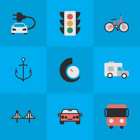 Vector Illustration Set Of Simple Traffic Icons. Elements Traffic Lights, Speedometer, Autobus And Other Synonyms Delivery, Iron And Lighter. Illustration