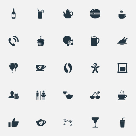 pareja comiendo: Vector Illustration Set Of Simple Restaurant Icons. Elements Cafe, Handset, Sandwich Synonyms Herbal, Cup And Hamburger.