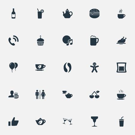 Vectorillustratiereeks Eenvoudige Restaurantpictogrammen. Elements Cafe, Handset, Sandwich Synoniemen Kruiden, Kop en Hamburger.