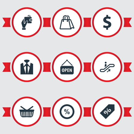Vector Illustration Set Of Simple Purchase Icons. Elements Paper Bag, Grocery, Sale And Other Synonyms Man, Dollar And Escalator.