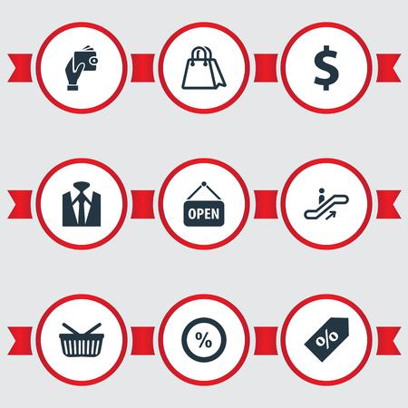 Vectorillustratiereeks Eenvoudige Aankooppictogrammen. Elementen papieren zak, supermarkt, verkoop en andere synoniemen Man, Dollar en roltrap.