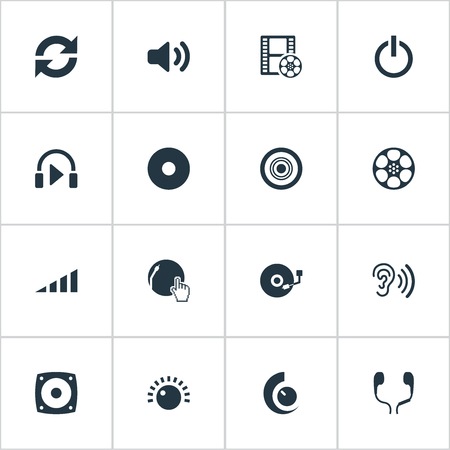 aural: Vector Illustration Set Of Simple Music Icons. Elements Compact Disk, Volume, Cinema And Other Synonyms Scale, Subwoofer And Film.