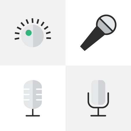 Vector Illustration Set Of Simple Melody Icons. Elements Regulator, Mike, Record And Other Synonyms Mike, Sound And Make.
