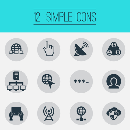 Vector Illustration Set Of Simple Browser Icons. Elements Worldwide, Parole, Pointer And Other Synonyms Hand, Cloud And User. Stock Photo
