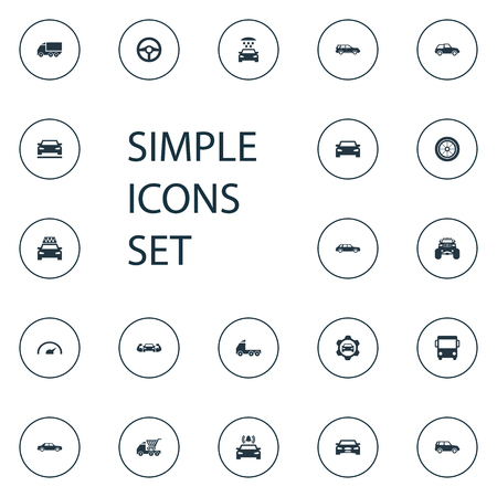 Vector Illustration Set Of Simple Car Icons. Elements Sedan, Front, Cab And Other Synonyms Side, Bus And Repair. Stock Photo