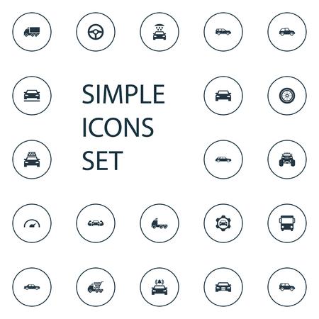 Vector illustratie Set van eenvoudige auto iconen. Elementen Sedan, voorkant, cabine en andere synoniemenzijde, bus en reparatie.