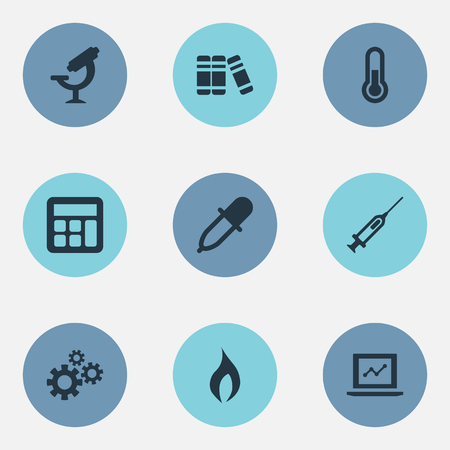 Vector Illustration Set Of Simple Knowledge Icons. Elements Thermometer, Fire, Medicine Dropper And Other Synonyms Pinion, Growth And Flame. Фото со стока