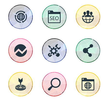 Vector Illustration Set Of Simple Search Icons. Elements Optimization, Global, Loupe And Other Synonyms Magnifier, International And Drug.