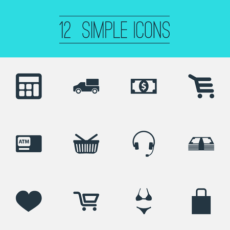 Vector Illustration Set Of Simple Basket Icons. Elements Cash, Swimsuit, Truck And Other Synonyms Sack, Basket And Truck. Ilustração