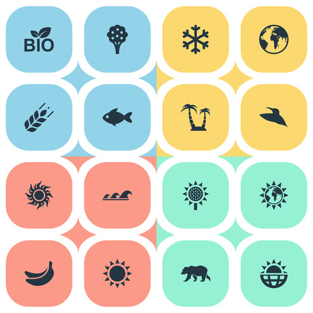 curve: Vector Illustration Set Of Simple Ecology Icons. Elements Reef, World, Sun And Other Synonyms Ocean, Weather And Aquatic.