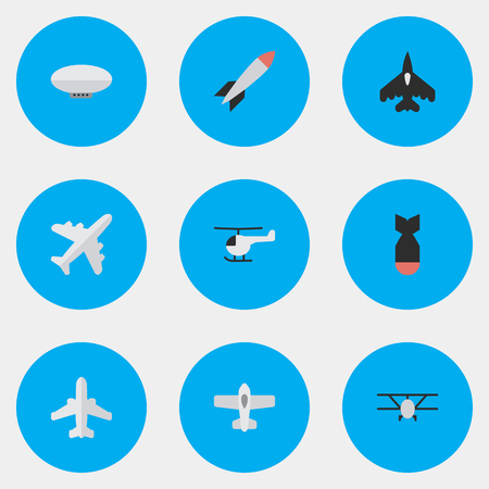 Vector Illustration Set Of Simple Aircraft Icons. Elements Copter, Airplane, Airliner And Other Synonyms Copter, Flying And Helicopter. Ilustração