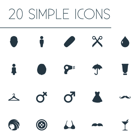 dryer: Vector Illustration Set Of Simple Glamour Icons. Elements Haircut, Natural Ingridients, Beautiful Face And Other Synonyms Moisturizer, Blowdryer And Person. Illustration