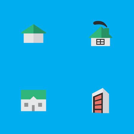 Vector Illustration Set Of Simple Real Icons. Elements Architecture, Construction, House And Other Synonyms Home, Building And Construction.