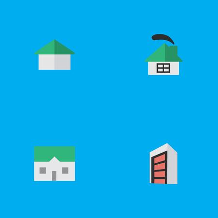 Vectorillustratiereeks Eenvoudige Echte Pictogrammen. Elementen Architectuur, bouw, huis en andere synoniemen Huis, gebouw en bouw. Stock Illustratie