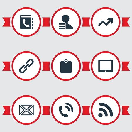 벡터 일러스트 레이 션 간단한 통신 아이콘의 집합입니다. 요소 ID 카드, 팜 탑, 디렉토리 및 기타 동의어 증가, 핸드셋 및 디렉토리.