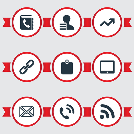 Vector Illustration Set Of Simple Communication Icons. Elements Id Card, Palmtop, Directory And Other Synonyms Increase, Handset And Directory.