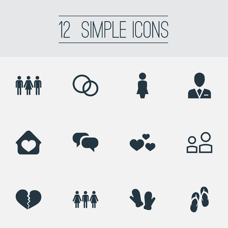 Vector Illustration Set Of Simple Beloved Icons. Elements Divorce, Heart, Candidate Synonyms Attorney, Sandal And User.