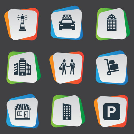 Vector Illustration Set Of Simple Urban Icons. Elements Kiosk, Cab, Skyscraper And Other Synonyms Home, Partnership And Apartment.