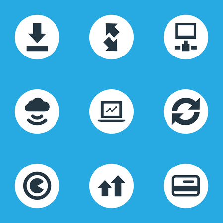 Vector Illustration Set Of Simple Analysis Icons. Elements Plastic Money, Downloading, Increase And Other Synonyms Cloud, Update And Downloading.